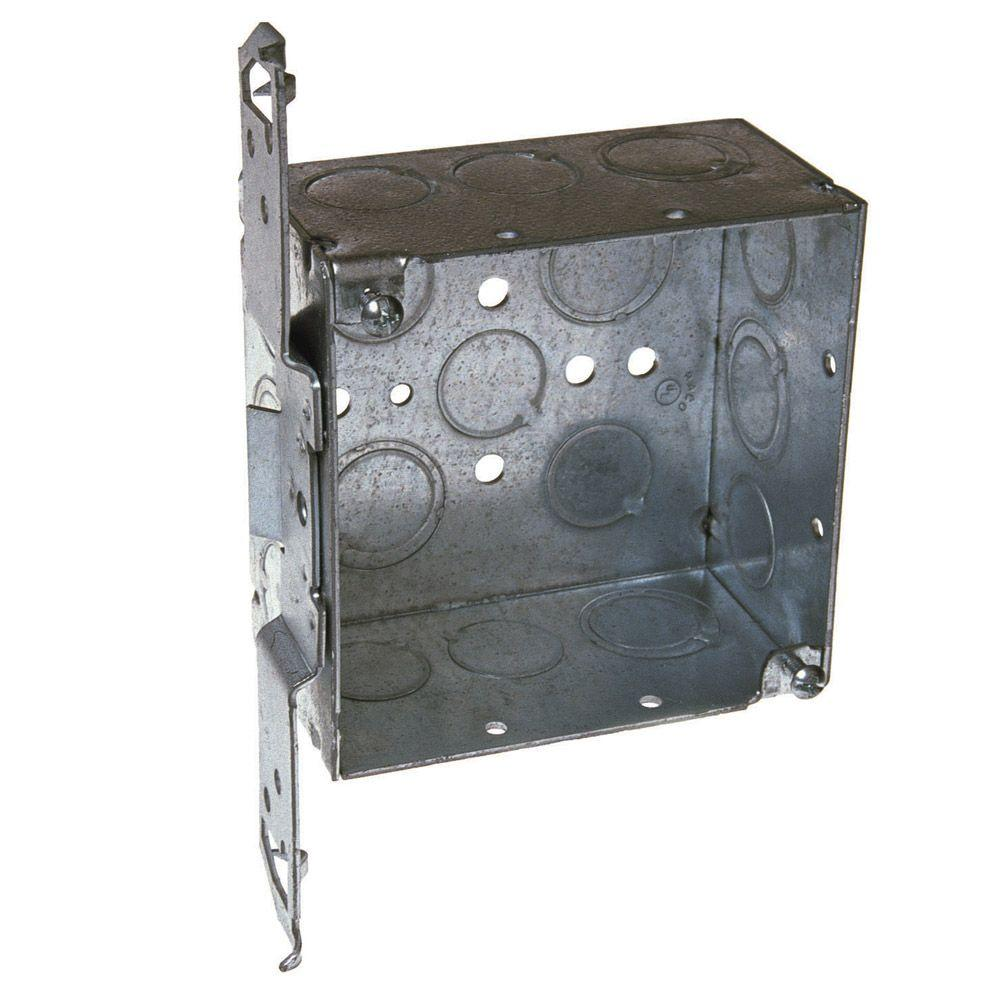 null 4 in. Square Welded Box, 2-1/8 Deep with 1/2 & 3/4 in. TKO's and TS Bracket