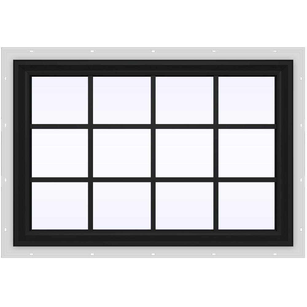 JELD-WEN 47.5 in. x 35.5 in. V-2500 Series Fixed Picture Vinyl Window with Grids - Bronze