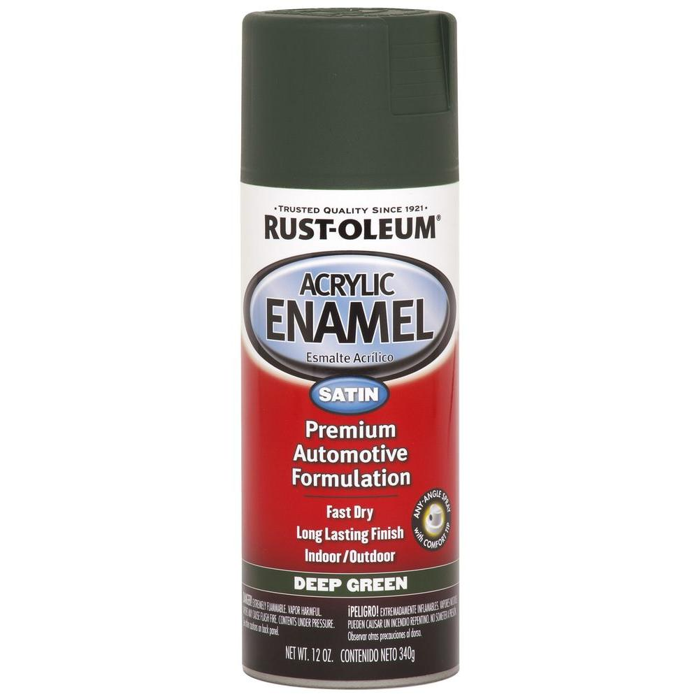 Rust Oleum Automotive 12 Oz Green Satin Acrylic Enamel Spray Paint 6 Pack 249297 The Home Depot