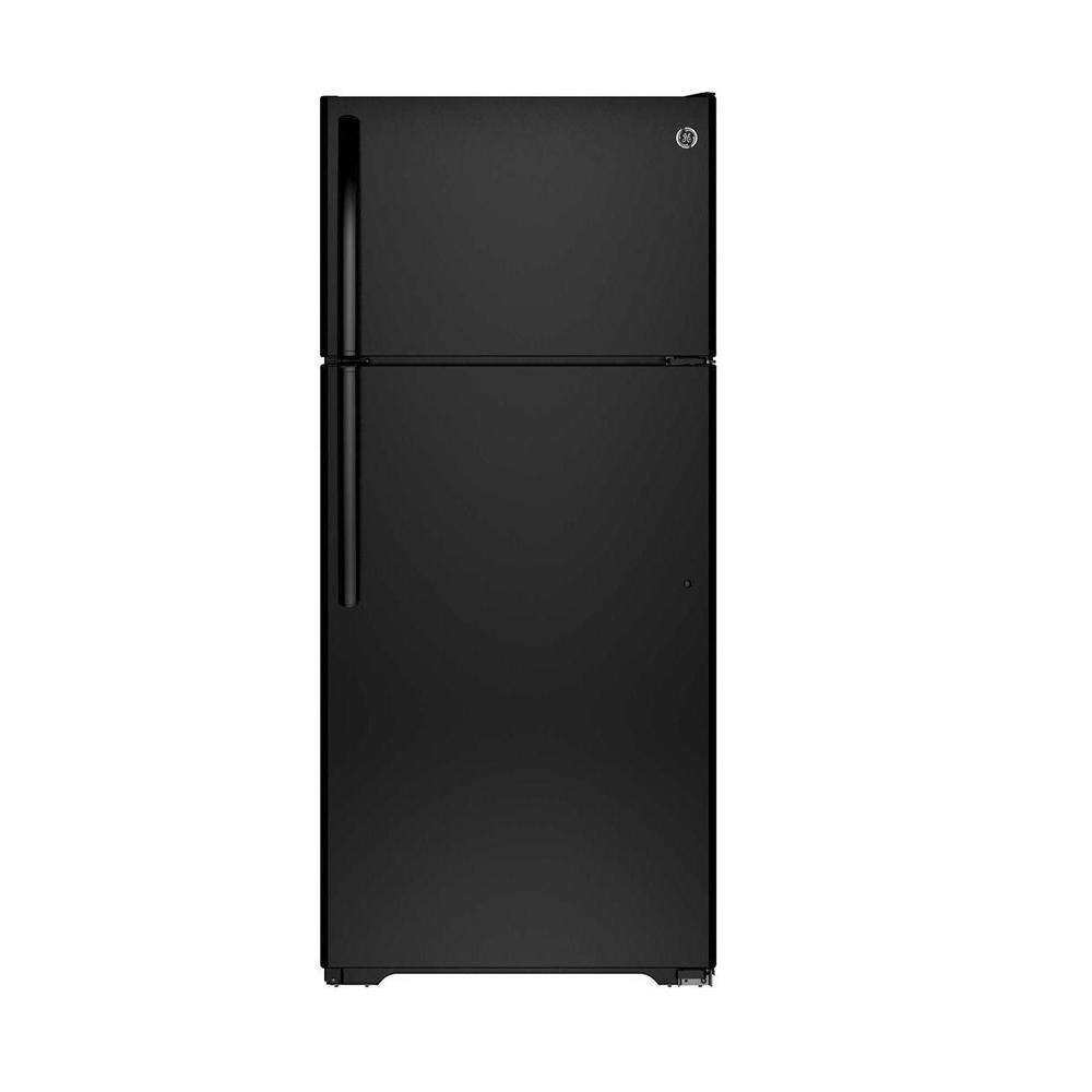 GE 15.5 cu. ft. Top Freezer Refrigerator in Black-GTE16GTHBB - The