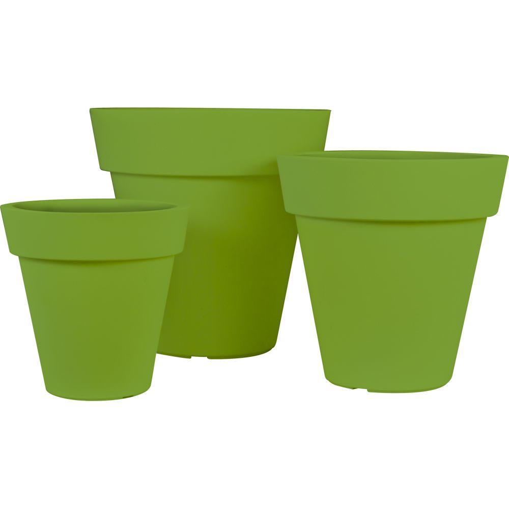 Pride Garden Products Mela Round Green Plastic Planters (Set of 3)