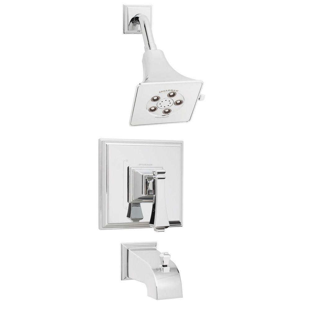 Speakman Rainier Pressure Balance Valve and Trim in Shower Combination and Diverter Tub Spout in Polished Chrome