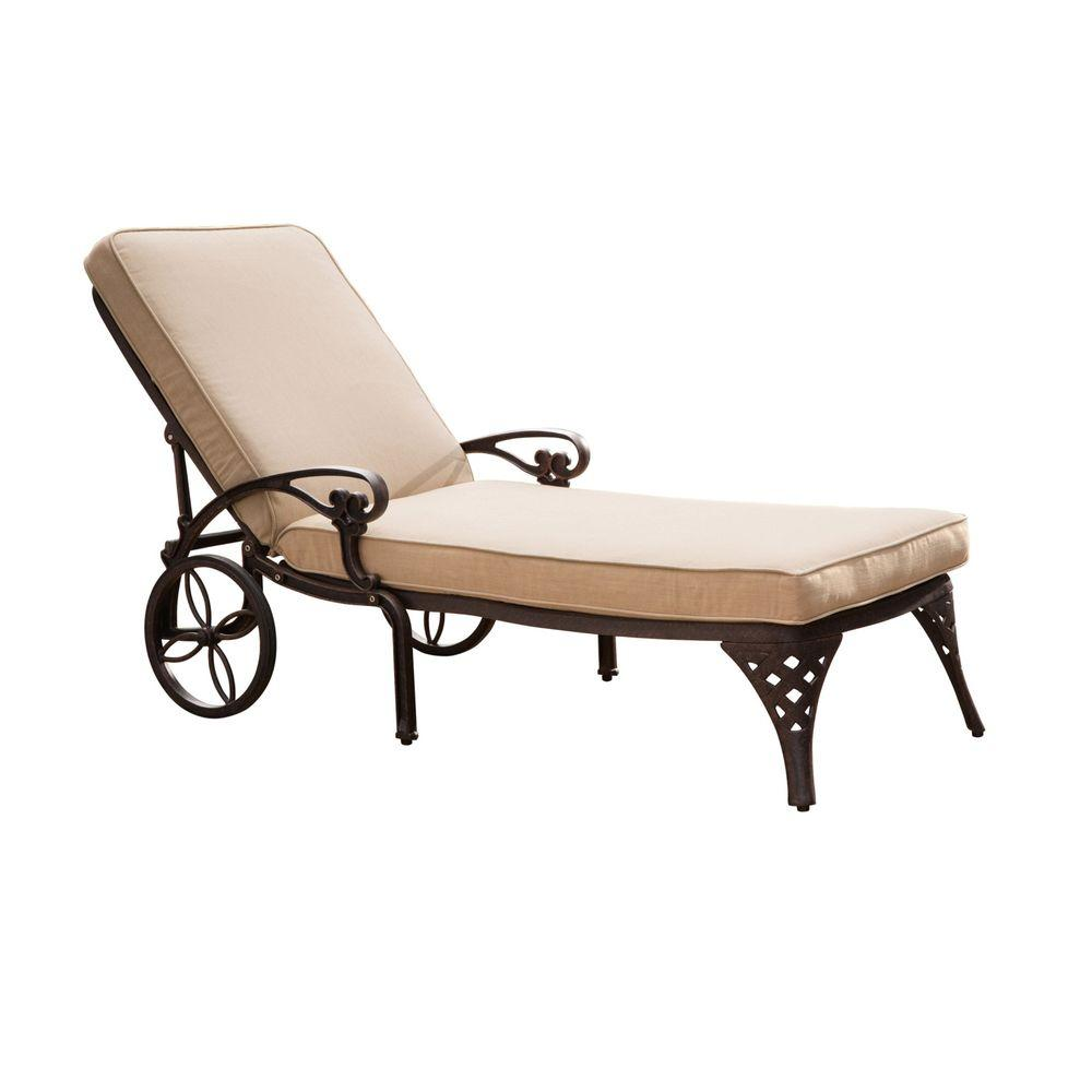 Biscayne Black Patio Chaise Lounge with Taupe Cushion