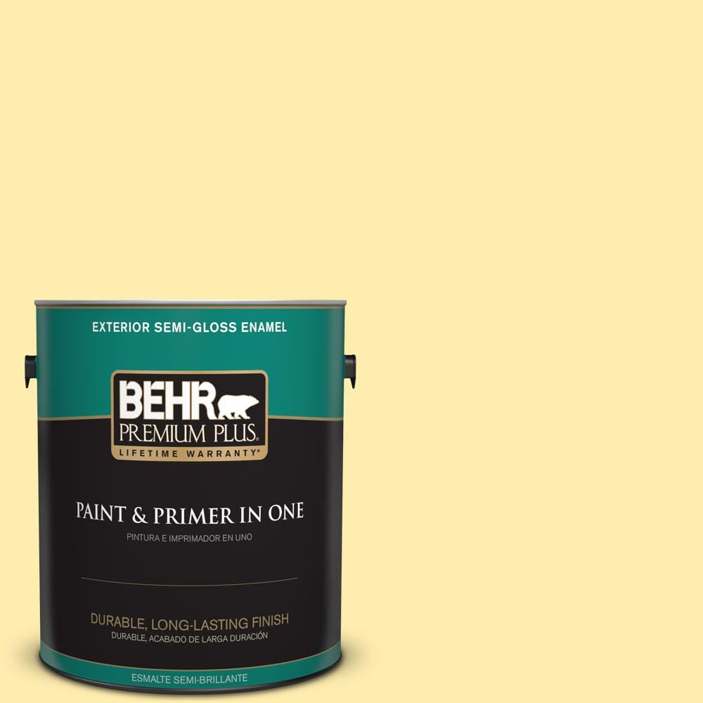 1-gal. #370A-2 Pale Daffodil Semi-Gloss Enamel Exterior Paint