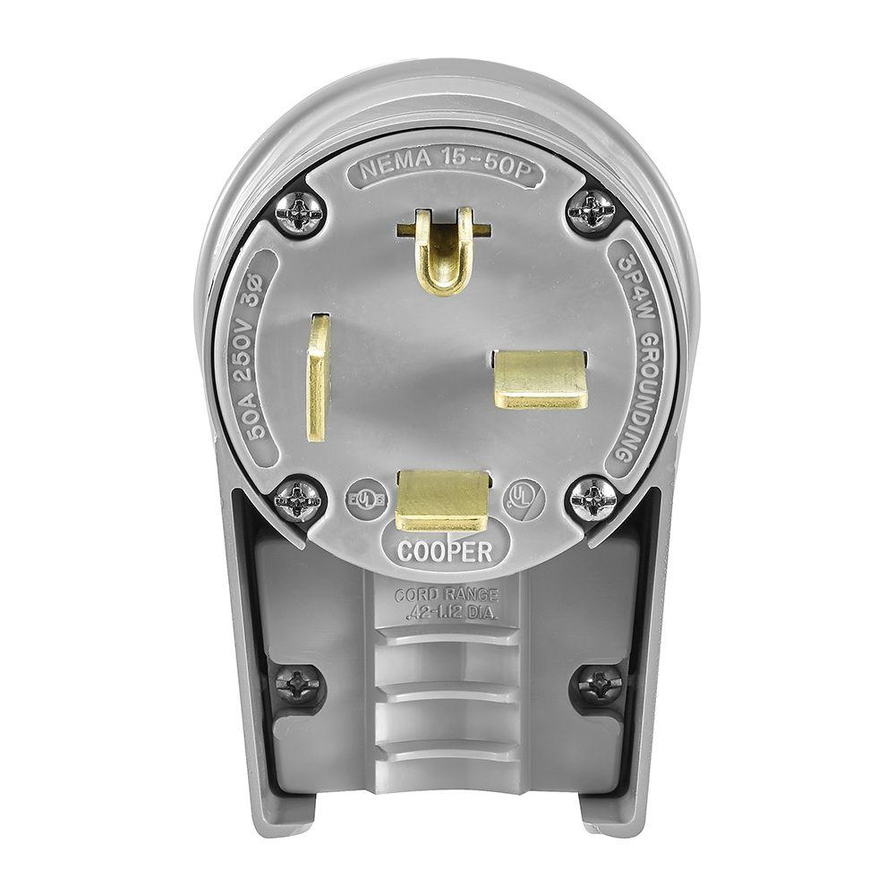 Eaton 50 Amp 250-Volt 15-30 Industrial Power Plug, Gray-8452AN - The