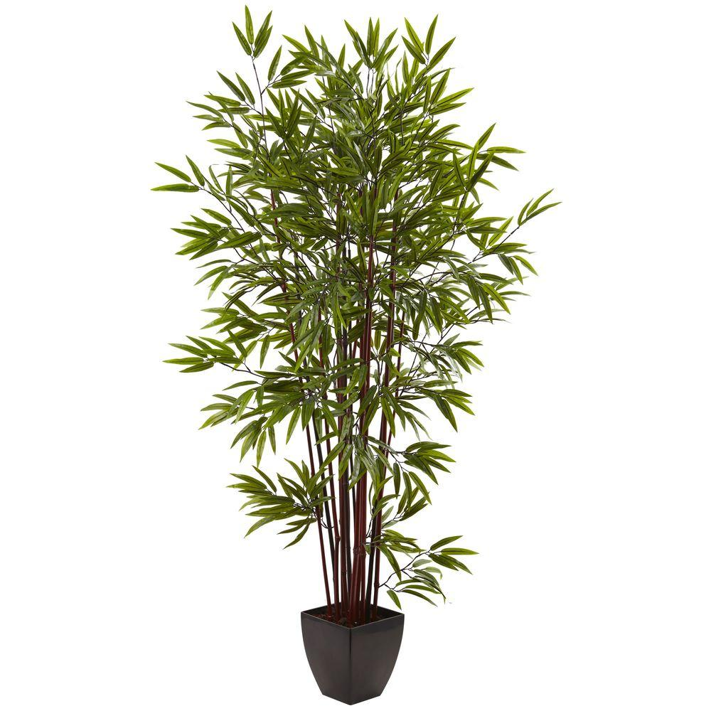 Nearly Natural 6 ft. Bamboo Silk Tree with Planter-5459 - The