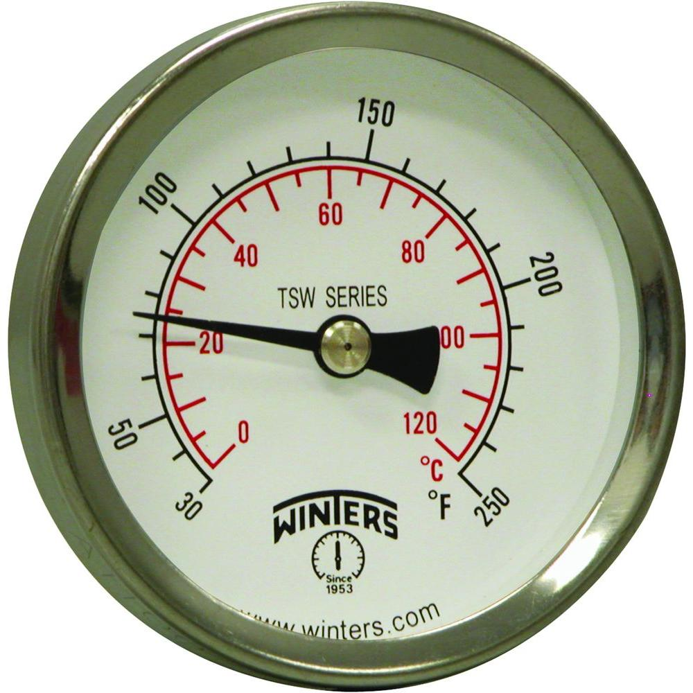 Winters Instruments 2 in. Dial Hot Water Thermometer with 1/2 in.