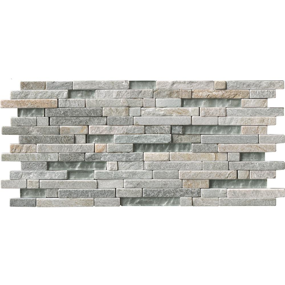 MS International Harvest Moon Interlocking 8 in. x 18 in. x 8 mm Glass and Stone Mesh-Mounted Mosaic Tile (10 sq. ft. / case)