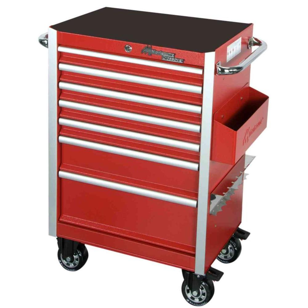 Montezuma Crossover 26 in. Crossover 6 Drawer Roller Cabinet Toolbox Red