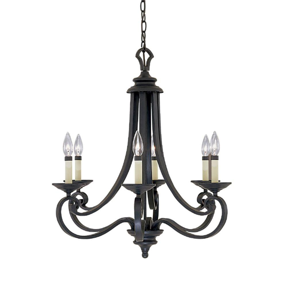Designers Fountain Monte Carlo 6-Light Hanging Natural Iron Chandelier