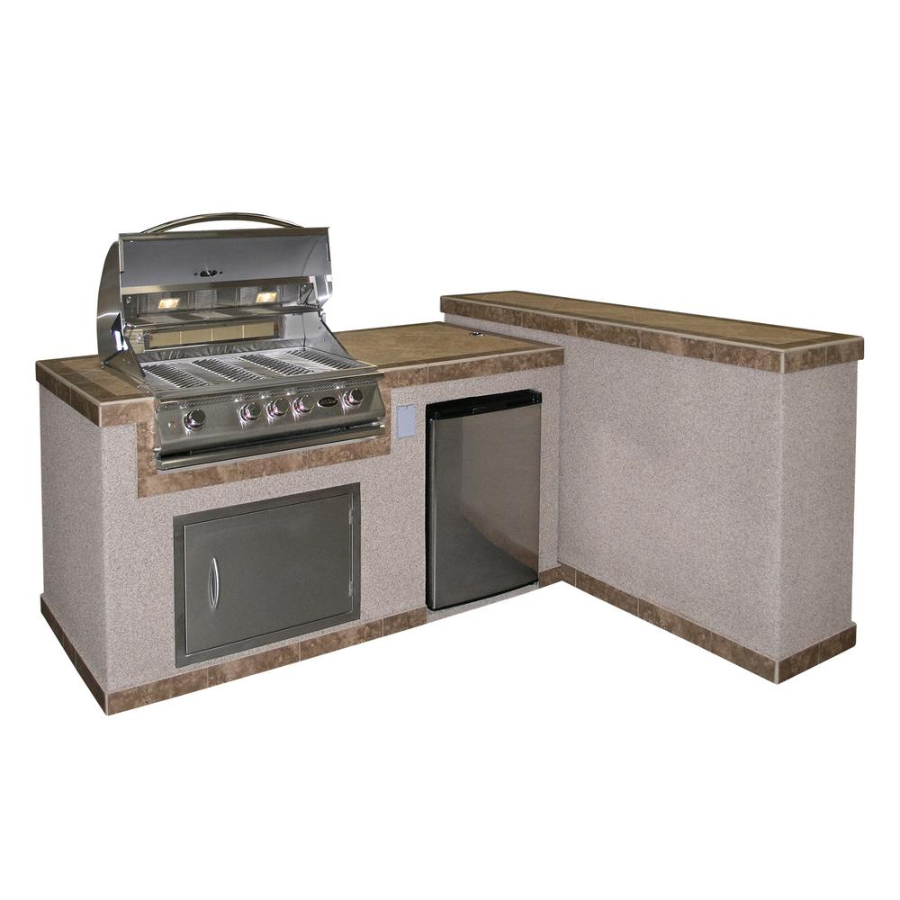 2-Piece BBQ Island and Side Bar with 32 in. Propane Gas