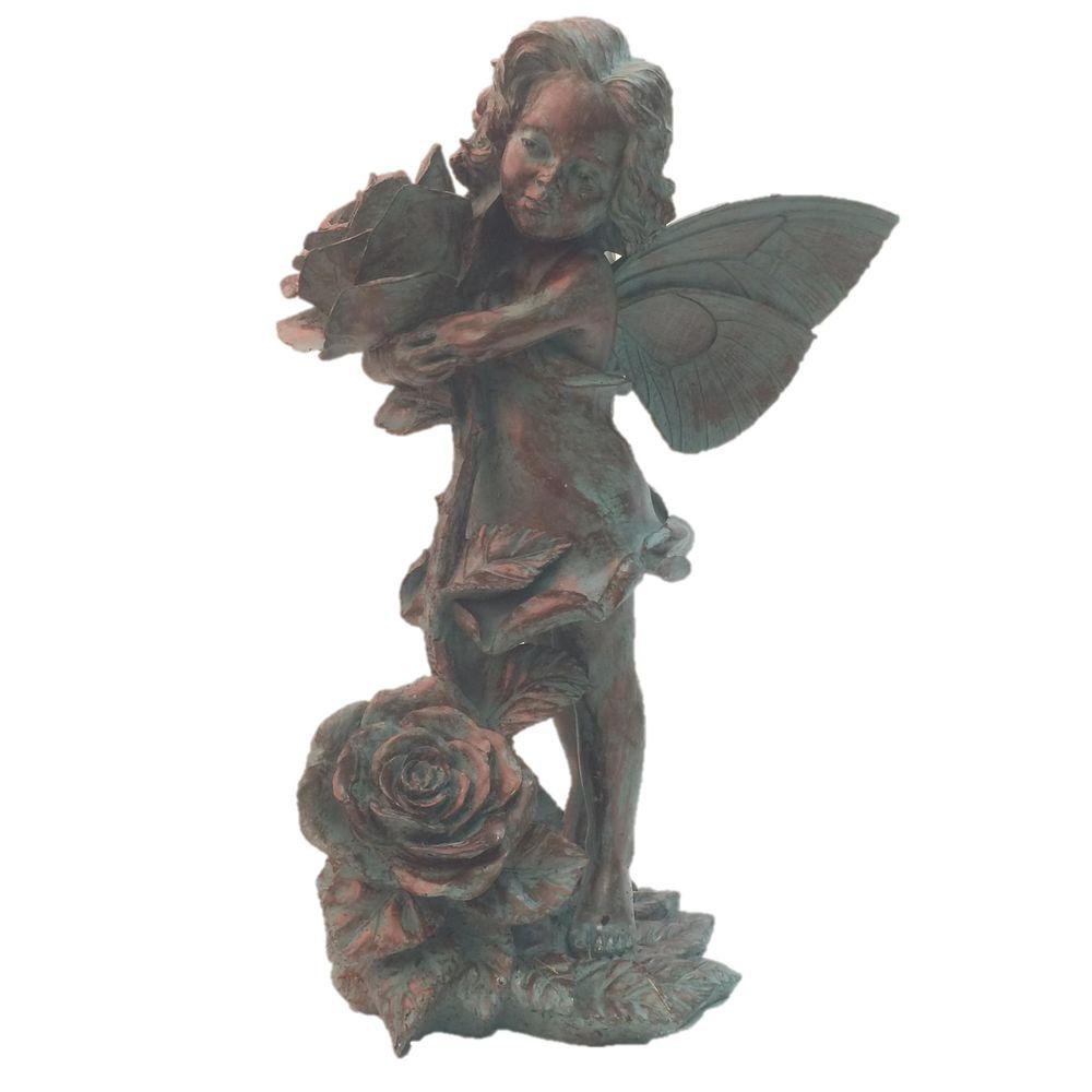 21 in. Fairy Lillian Rose Bronze Patina Collectible Garden Statue