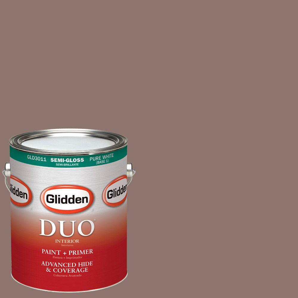Glidden DUO 1-gal. #HDGWN12U Old Leather Book Semi-Gloss Latex Interior Paint with Primer