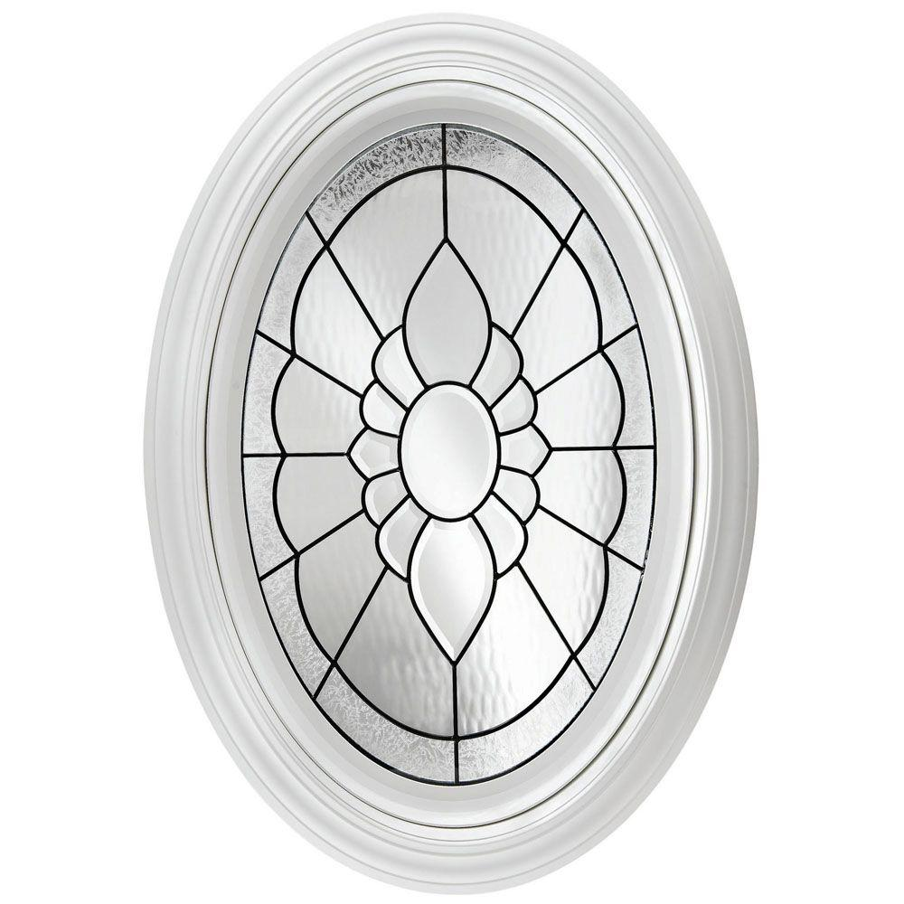 Hy-Lite 23.25 in. x 35.25 in. Decorative Glass Fixed Oval Vinyl Windows Floral PE Glass, Nickel Caming - White