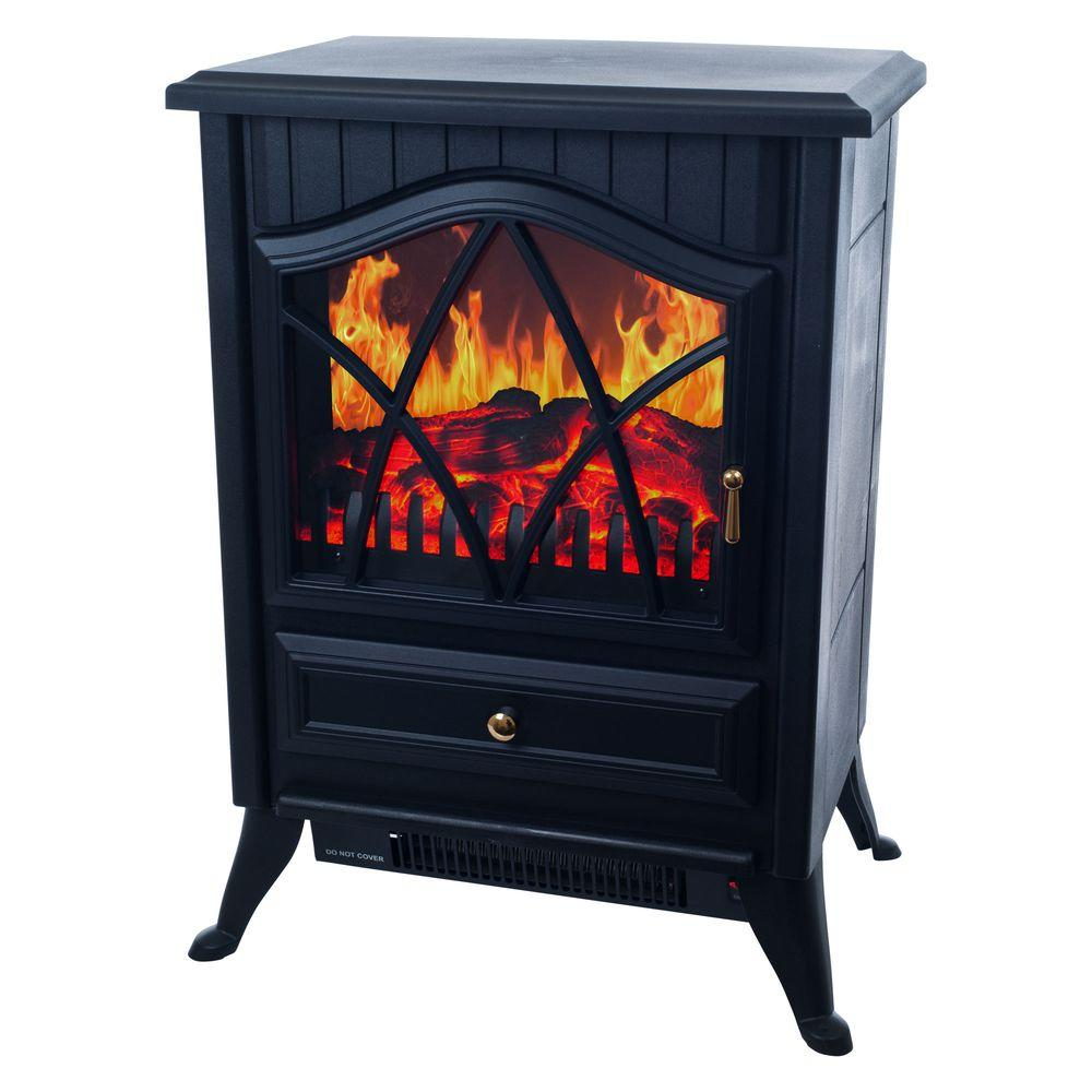 Warm House Retro 15 in. Electric Fireplace in Black