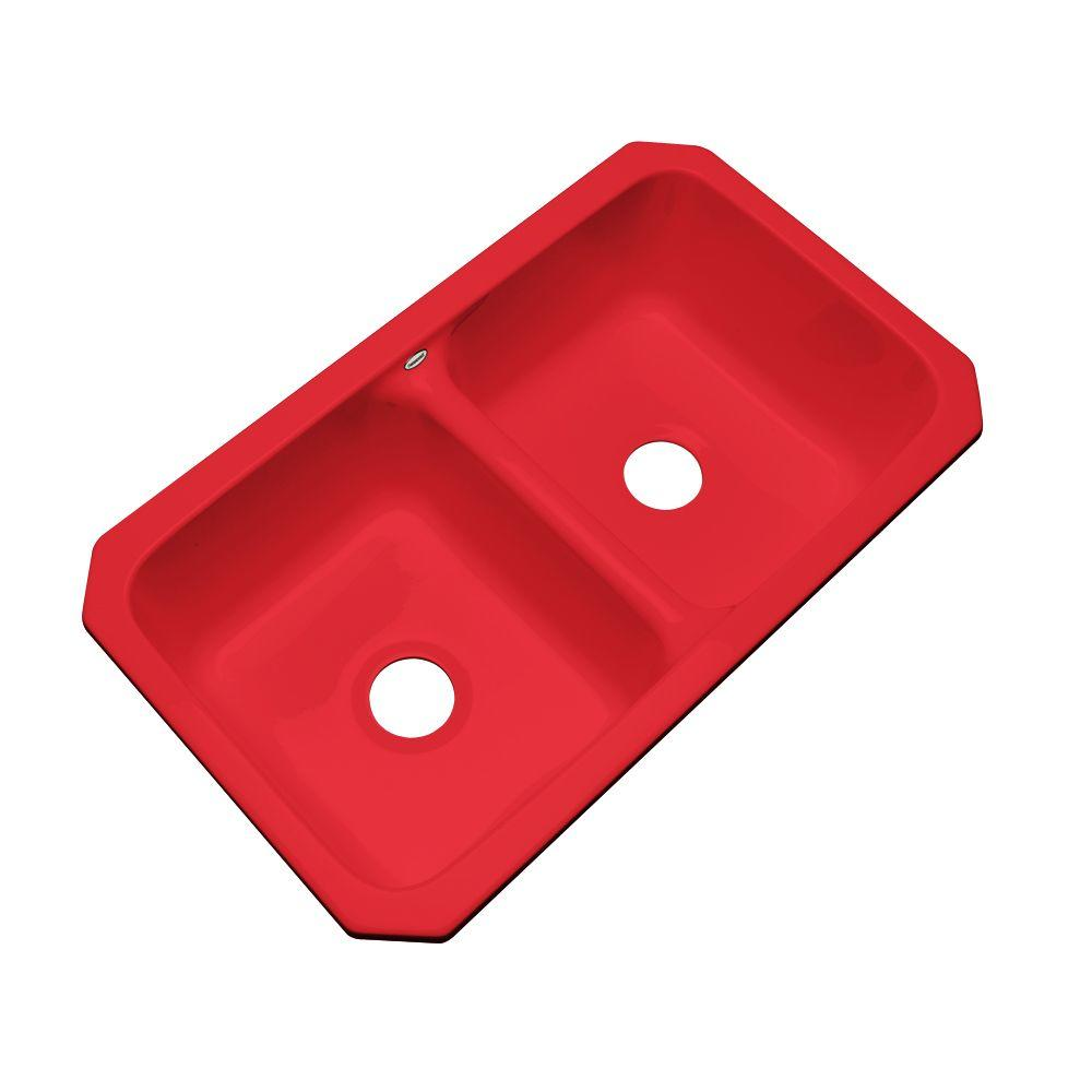 Thermocast Newport Undermount Acrylic 33x19.5x9 in. 0-Hole Double Bowl Kitchen Sink in Red