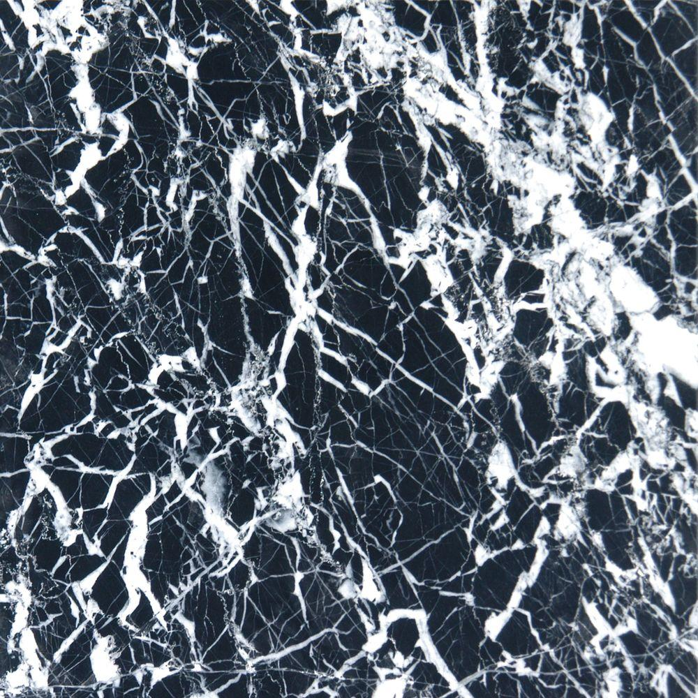 MS International Nero Marquina 12 in. x 12 in. Polished Marble