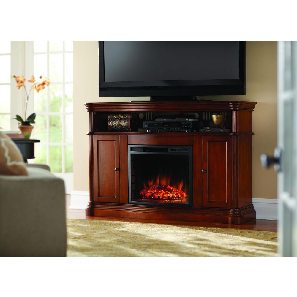 Home Decorators Collection Montero 56 In Media Console Infrared Electric Fireplace In Aged