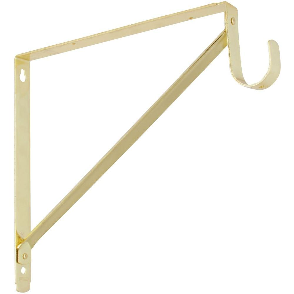 Stanley-National Hardware 11 in. x 12-5/8 in. Shelf-Hanging Rod Bracket in Polished Brass