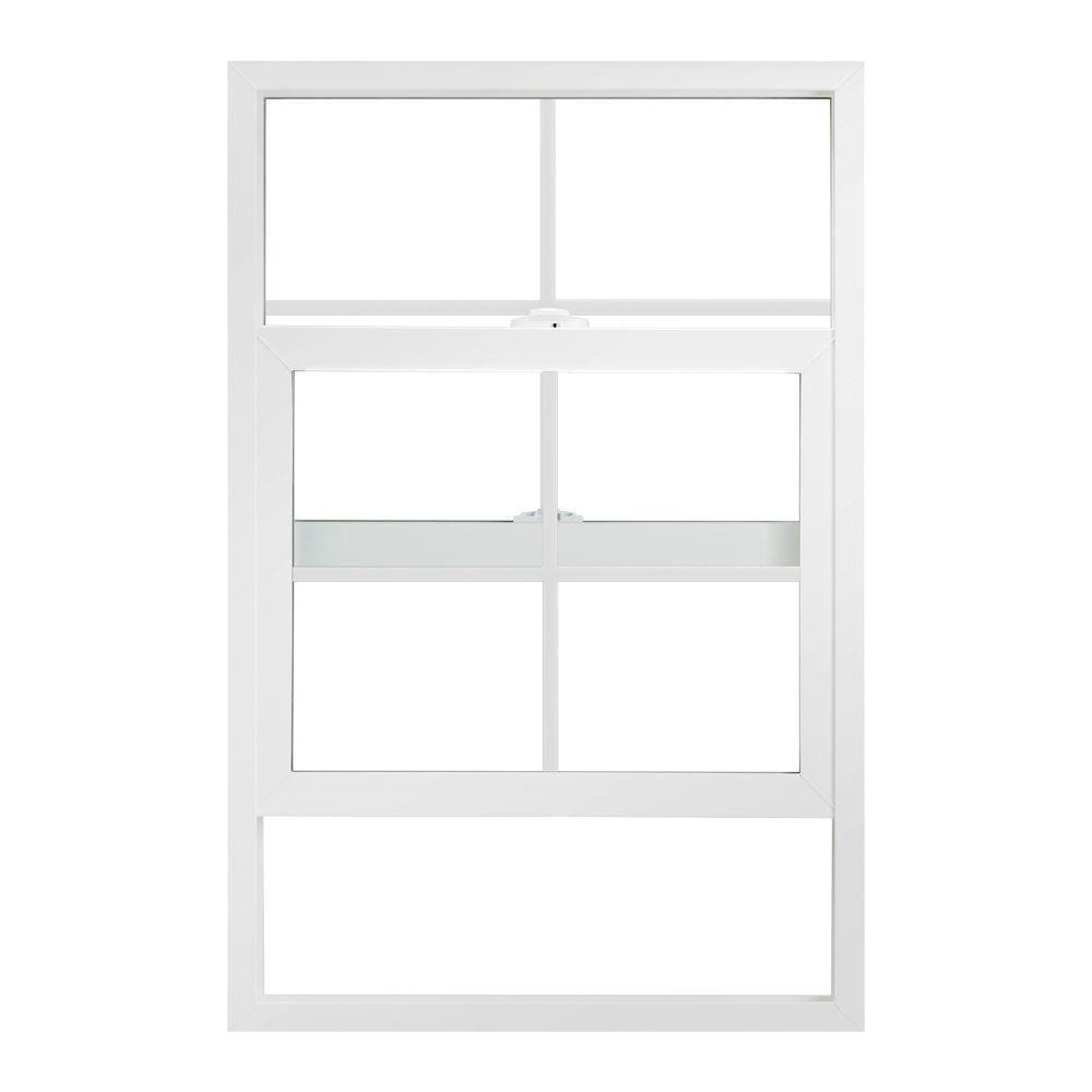 JELD-WEN 23.5 in. x 35.5 in. V-2500 Series Single Hung Vinyl Window with Grids - White