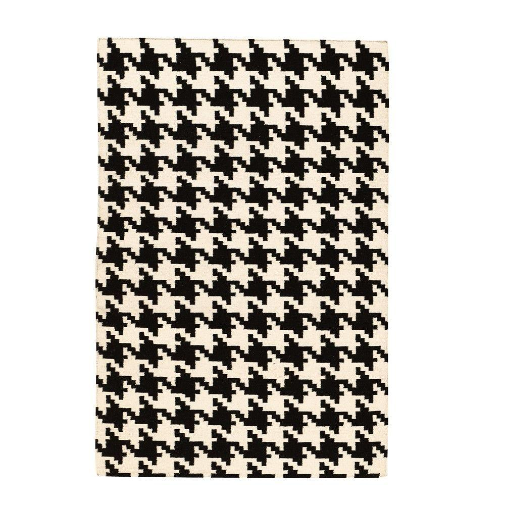 Home Decorators Collection Houndstooth Black 9 ft. x 13 ft. Area Rug
