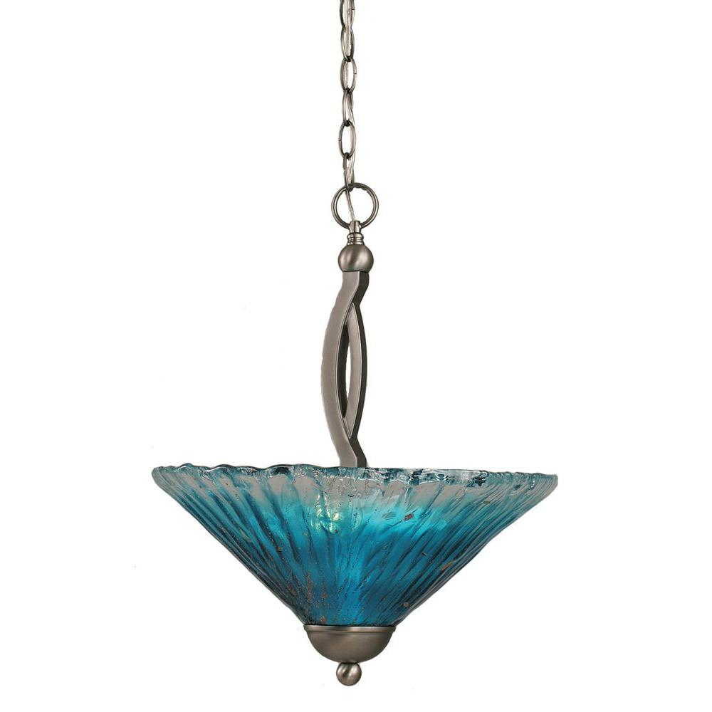 Filament Design Concord 2-Light Brushed Nickel Pendant with Teal Crystal Glass