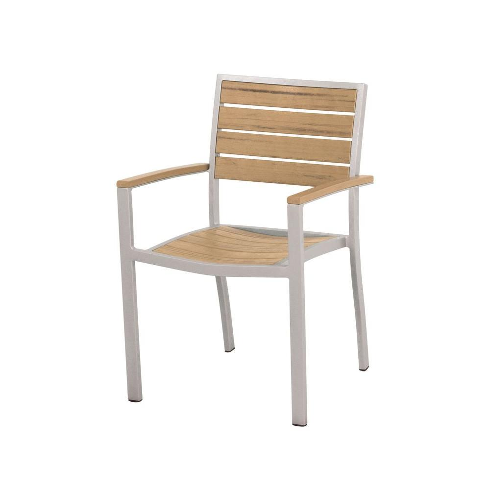 Euro Textured Silver Patio Dining Arm Chair with Plastique Natural Teak