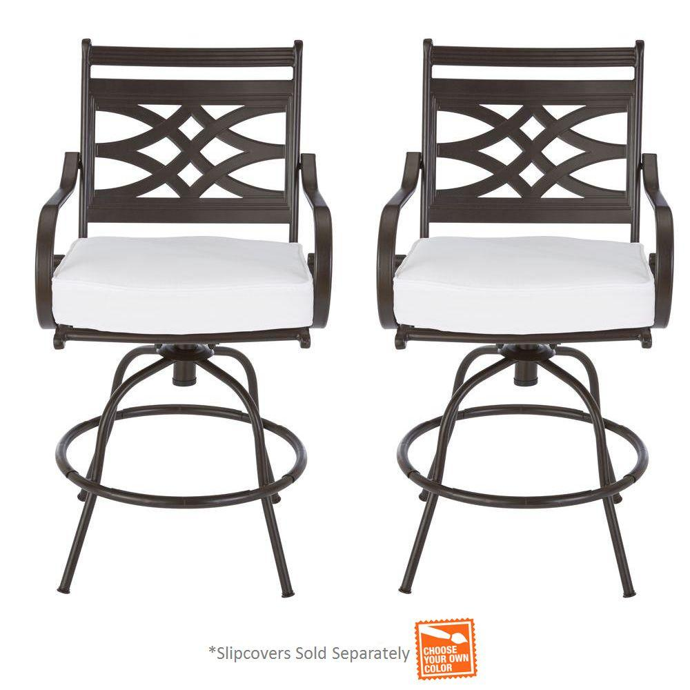 Hampton Bay Middletown Patio Motion Balcony Chairs with Cushion Insert 2 Pac