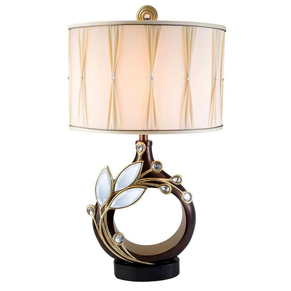 ORE International Laurell Topaz 31 in. Golden Brown Table Lamp with
