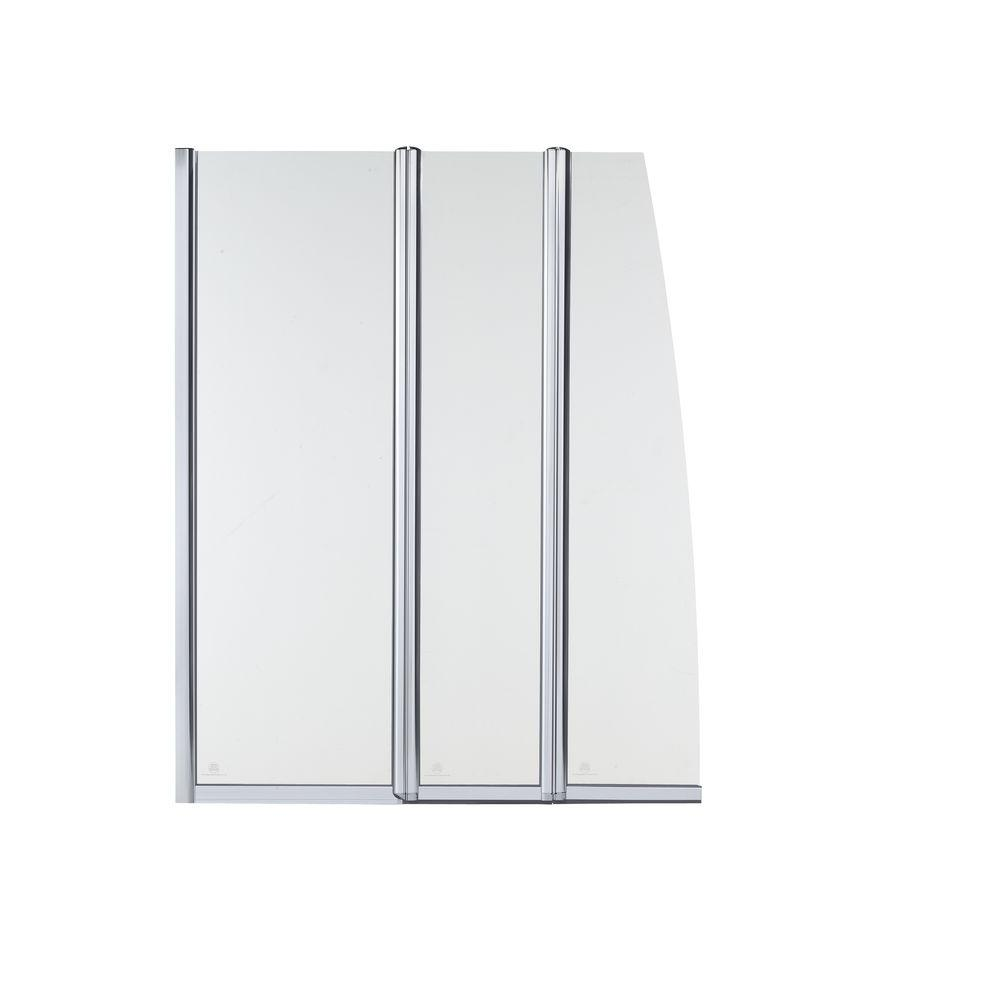 KOHLER Minima 49-3/16 in. x 61 in. Frameless 3-Panel Pivot Bath Screen in Bright Polished Silver Finish-DISCONTINUED