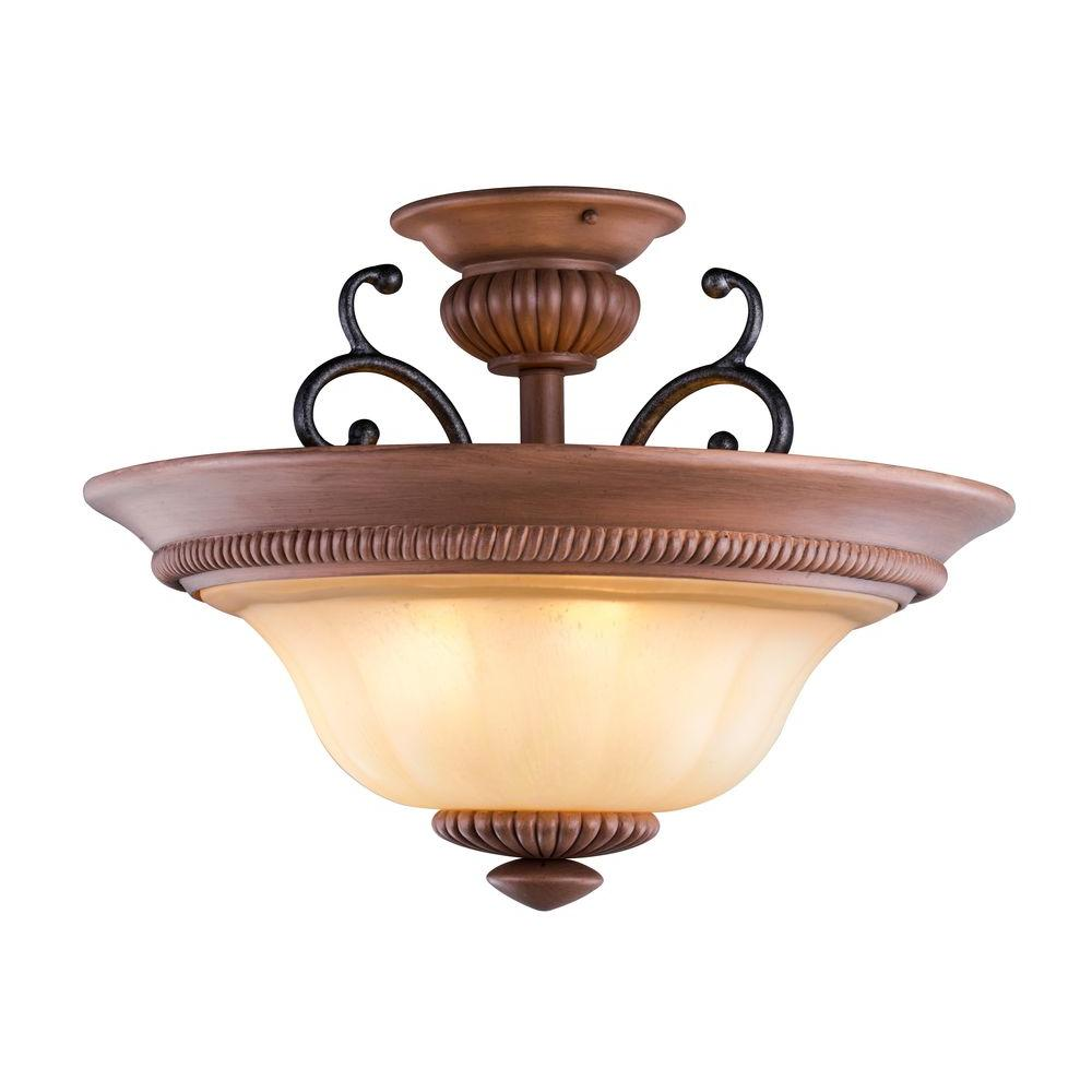 Elysia Collection 3-Light Antiqued Gold Semi-Flush Mount Light with Elegant