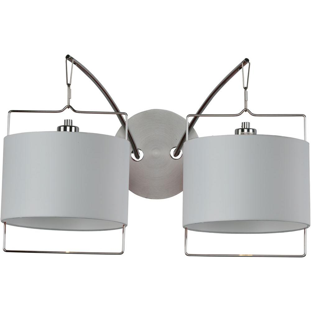 Oriax 2-Light Satin Nickel/Polished Chrome Wall Sconce with White Fabric Shade-DISCONTINUED