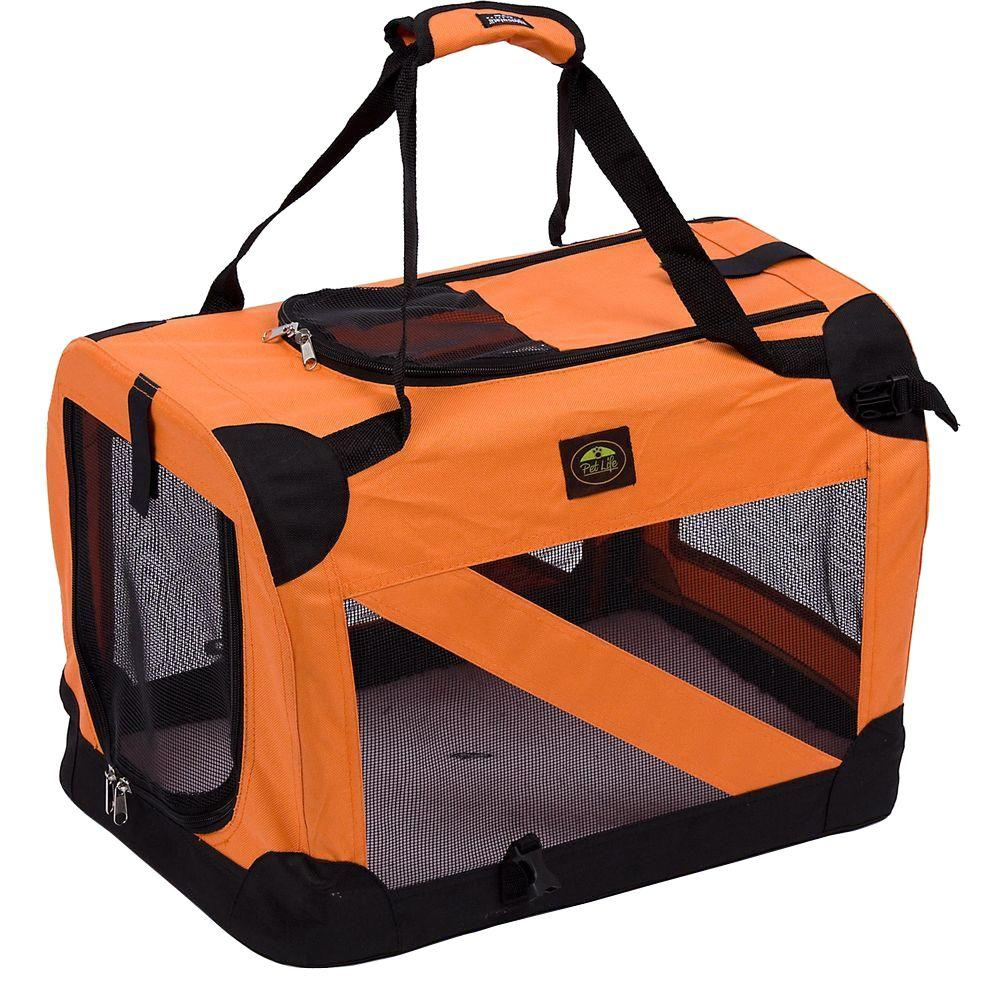 PET LIFE Orange 360 Degree Vista-View Soft Folding Collapsible Crate - Small