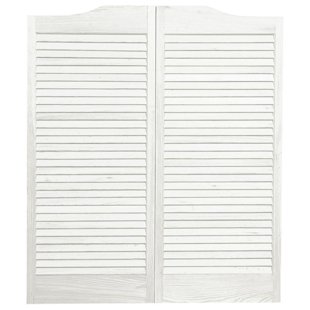 pinecroft 36 in. x 42 in. louvered wood cafe door-853642 - the