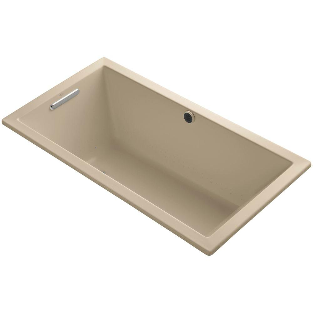 Underscore 5 ft. Acrylic Rectangular Drop-in Whirlpool Bathtub in Mexican Sand