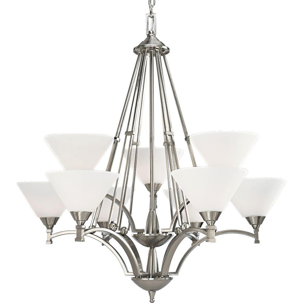 Progress Lighting Metro Collection Brushed Nickel 9-light Chandelier-DISCONTINUED