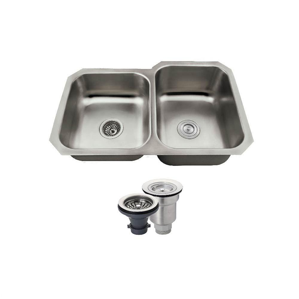 MR Direct All-in-One Undermount Stainless Steel 31-3/4 in. Right Double Bowl