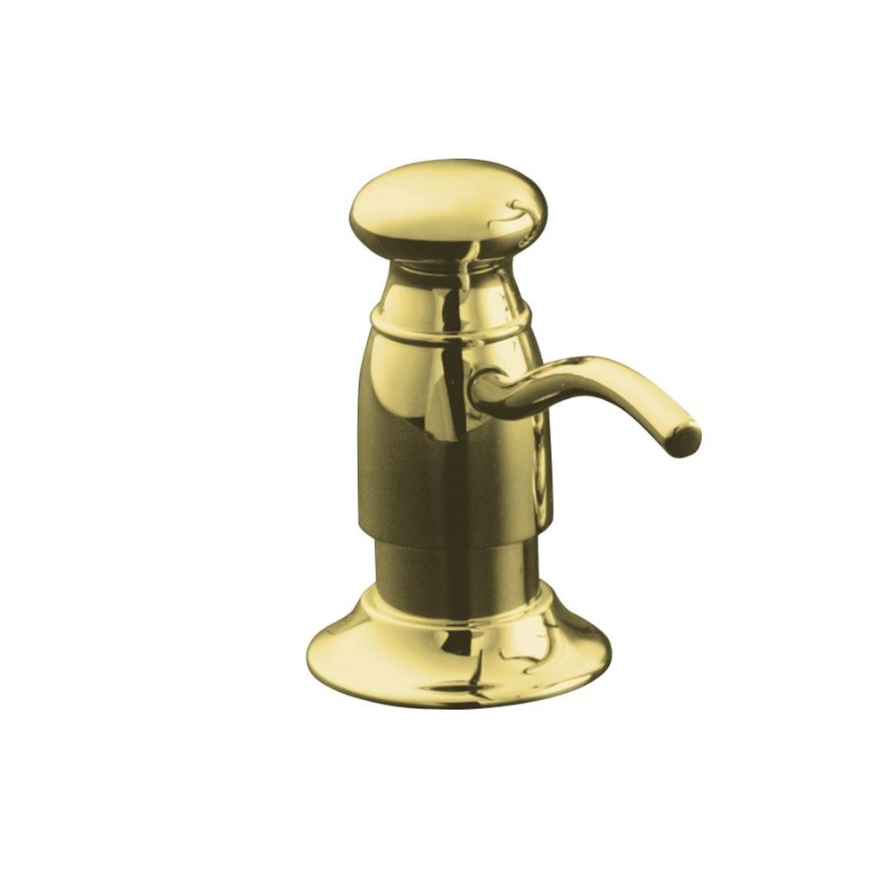KOHLER Countertop-Mount Brass and Plastic Soap and Lotion Dispenser in Vibrant Polished Brass