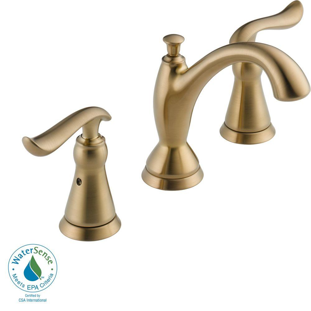 Delta Linden 8 in. Widespread 2-Handle High Arc Bathroom Faucet in Champagne Bronze