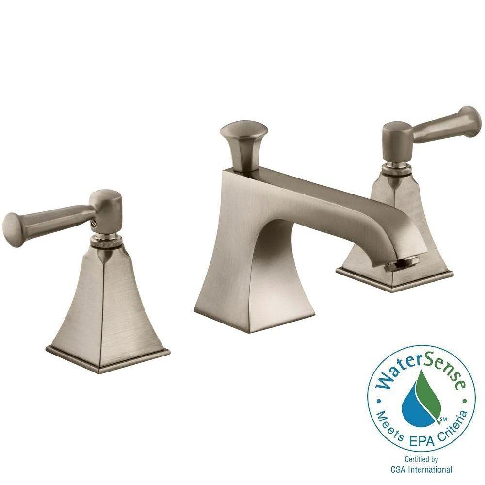 KOHLER Memoirs 8 in. Widespread 2-Handle Low-Arc Water-Saving Bathroom Faucet in Vibrant Brushed Bronze with Stately Design