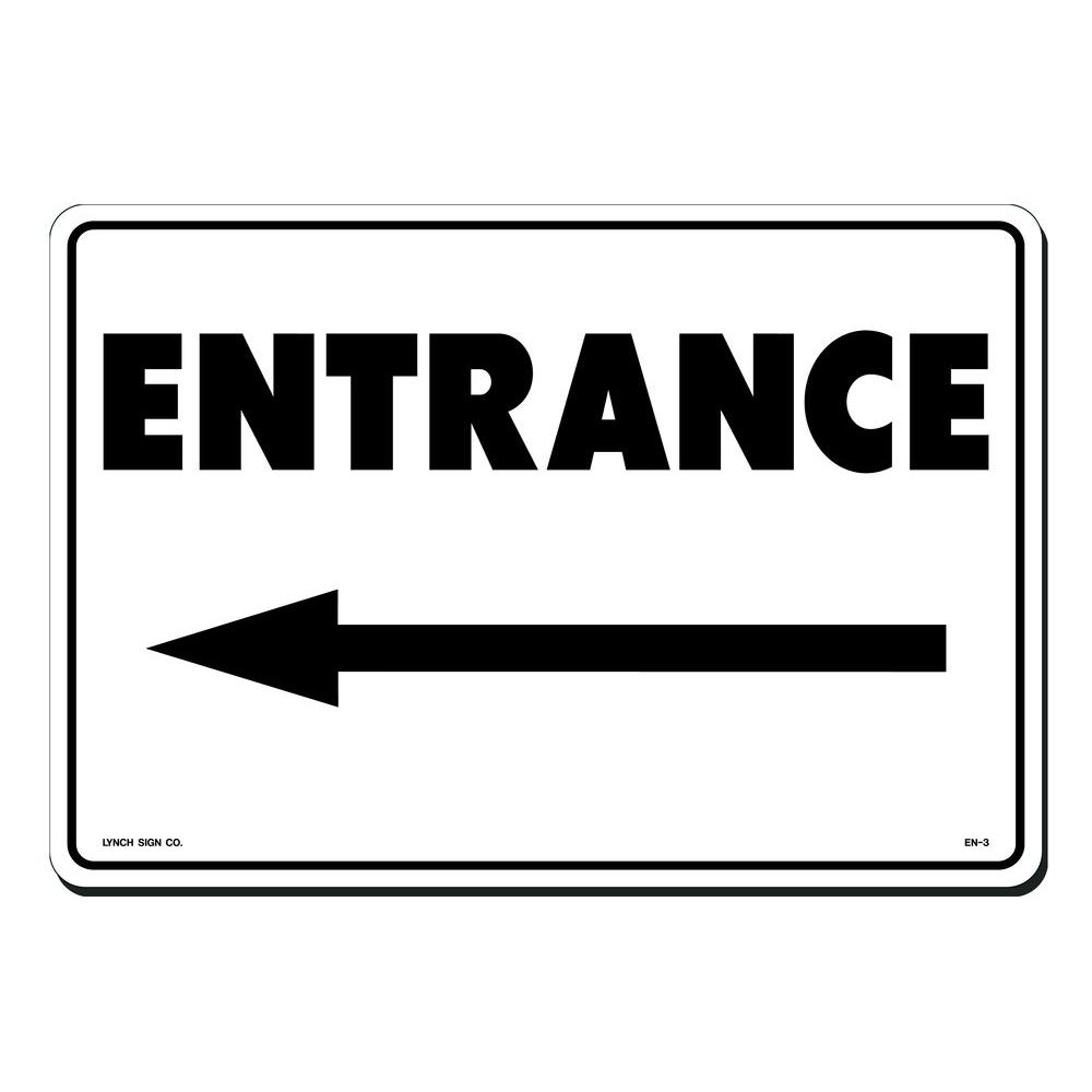 14 in. x 10 in. Black on White Plastic Entrance with Arrow Left Sign, White With Black Lettering