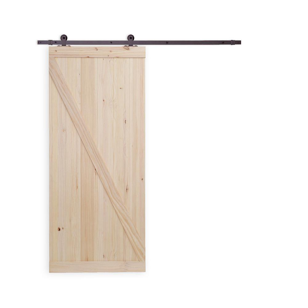 36 in. x 84 in. Unfinished Knotty Pine Wooden Door with