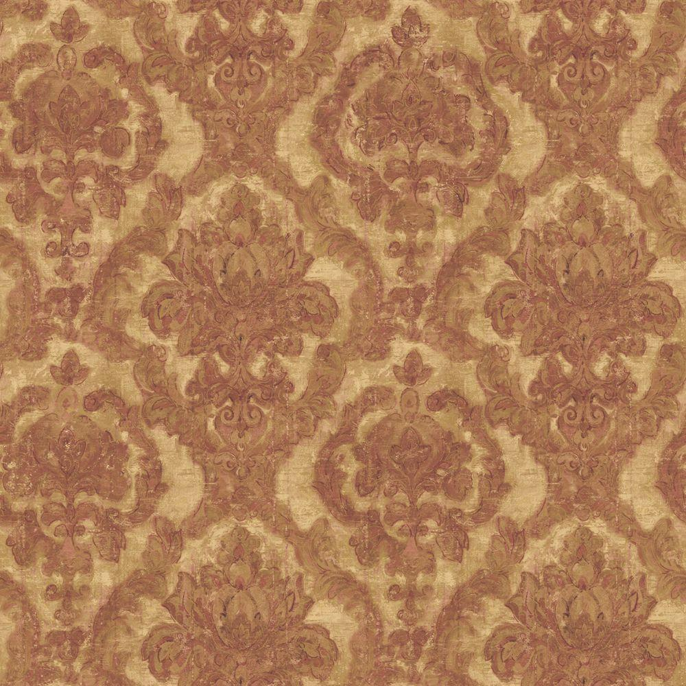 The Wallpaper Company 56 sq. ft. Jewel Tone Damask Tapestry Wallpaper