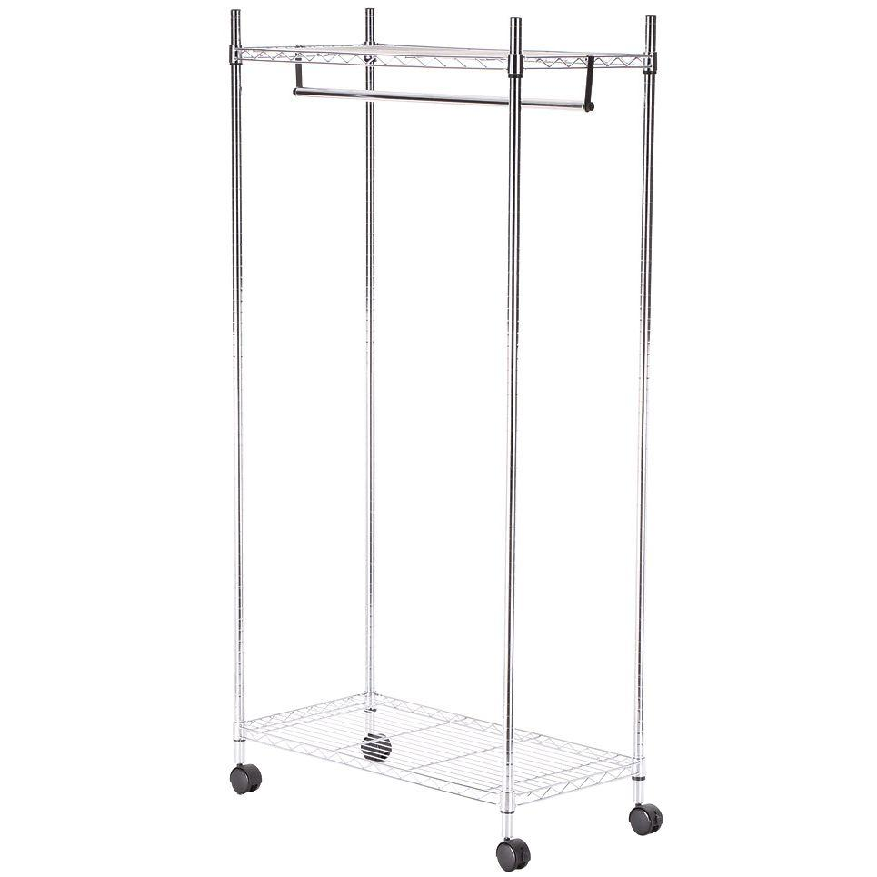 Whitmor Supreme Shelving Collection 36 in. x 70.25 in. Supreme Garment Rack in Chrome