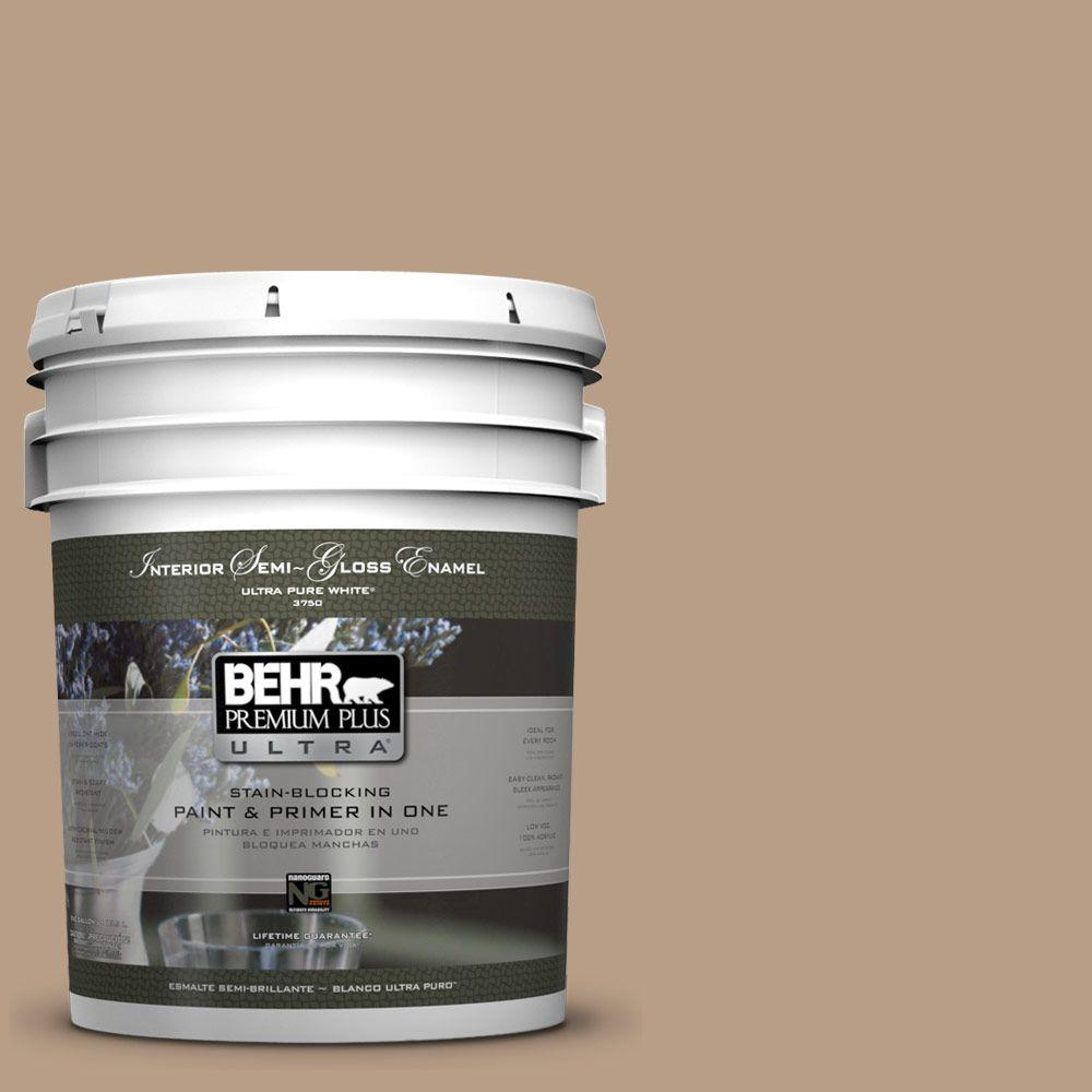 BEHR Premium Plus Ultra 5-gal. #ICC-52 Cup of Cocoa Semi-Gloss Enamel