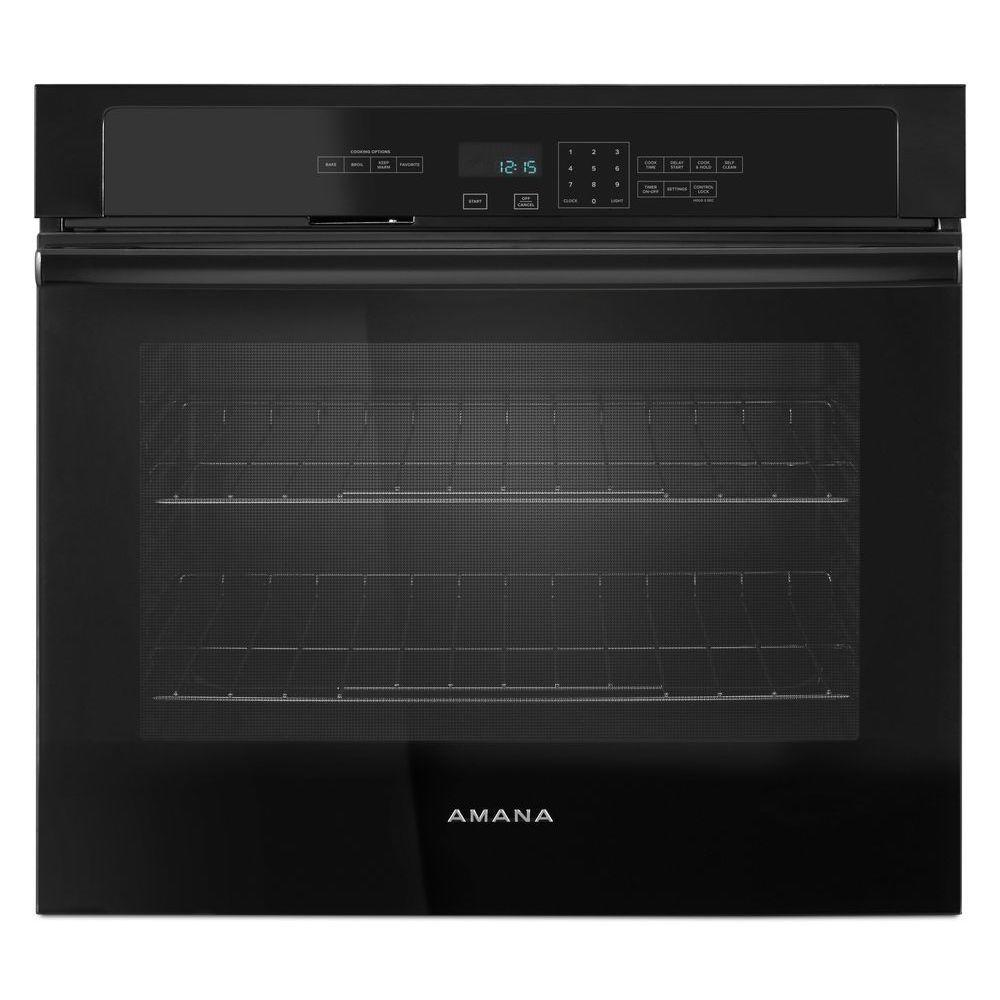 Amana 27 in. Single Electric Wall Oven Self-Cleaning in Black-AWO6317SFB -