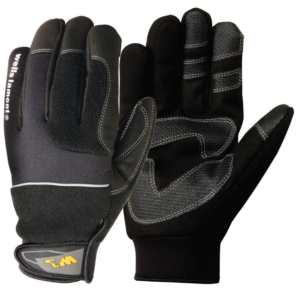 Wells Lamont Synthetic Leather and Fleece Glove, Large-DISCONTINUED