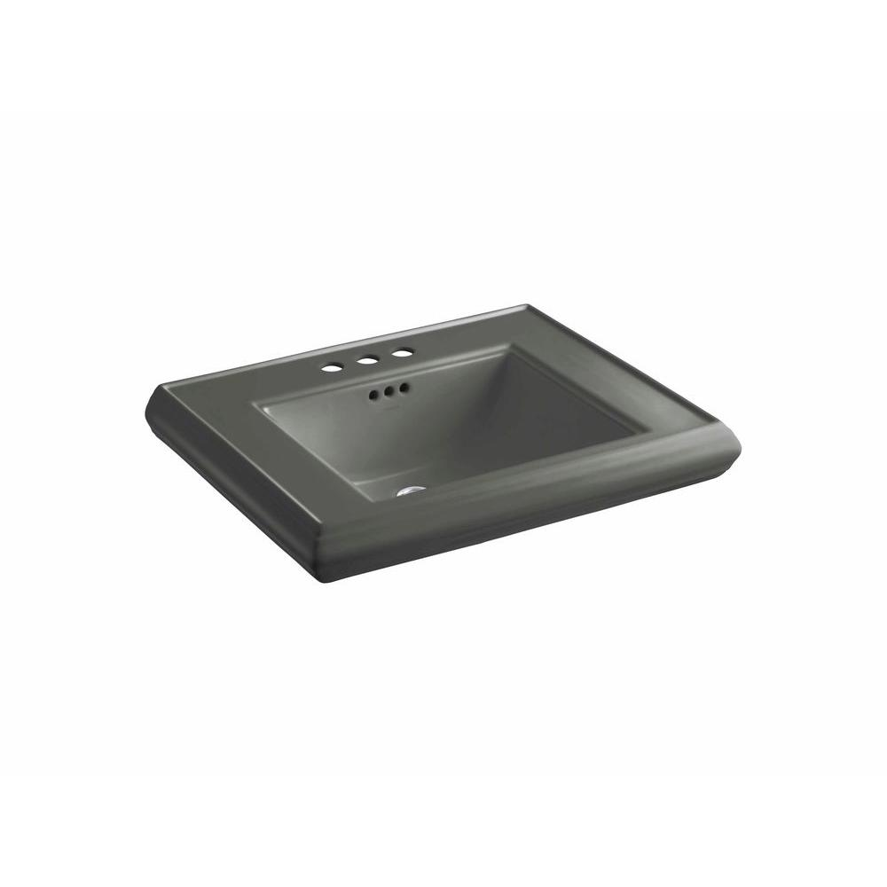 Memoirs 5-3/8 in. Ceramic Pedestal Sink Basin in Thunder Grey with
