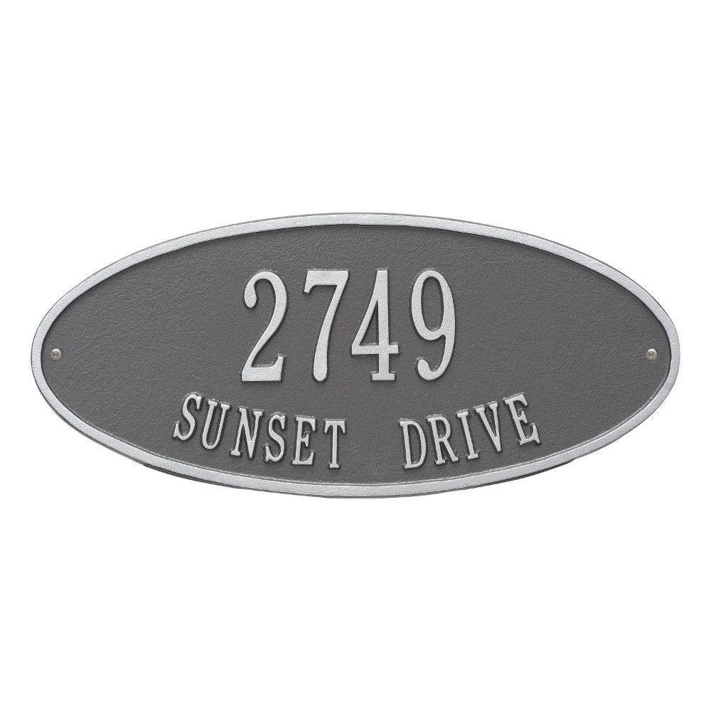 Whitehall Products Madison Standard Oval Pewter/Silver Wall 2-Line Address Plaque