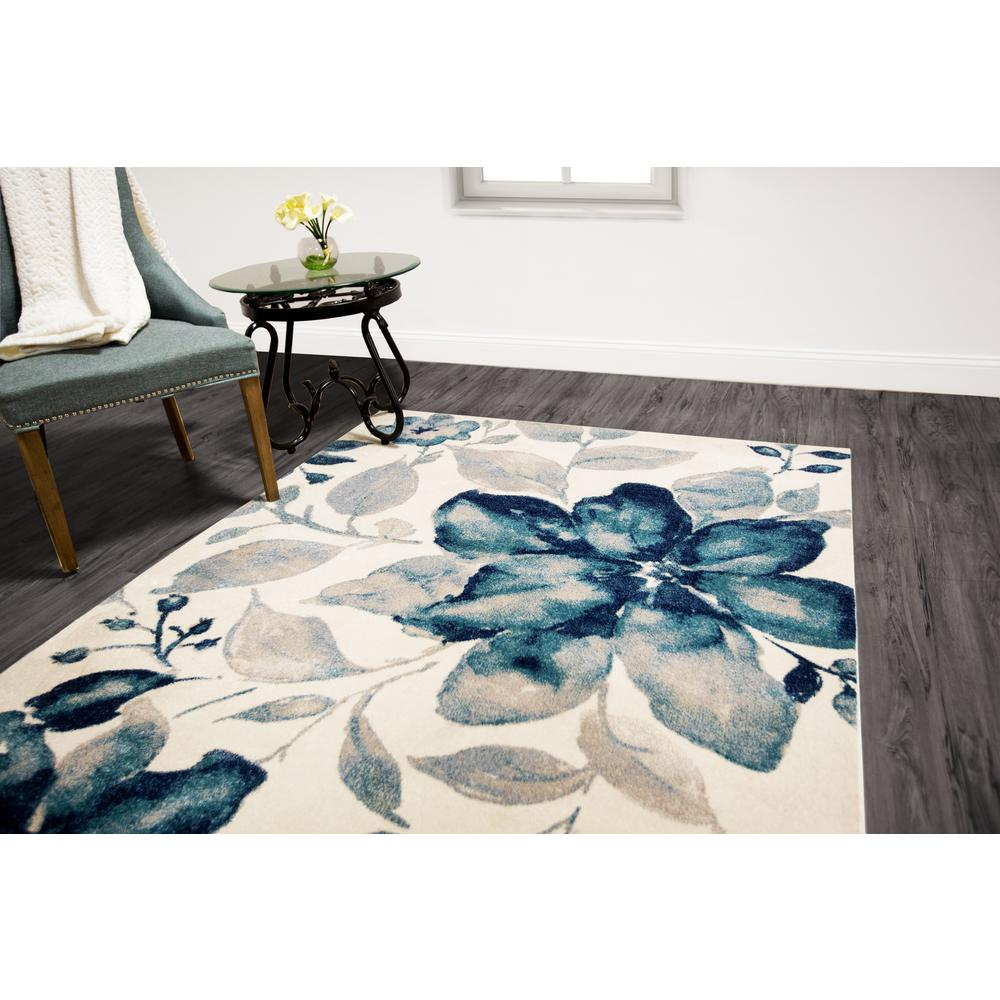 Home Dynamix Bazaar Watercolor Floral Blue 7 Ft 10 In X